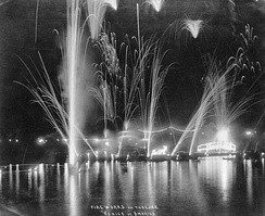 Fireworks display over the lake at the old Venice Amusement Park around 1915