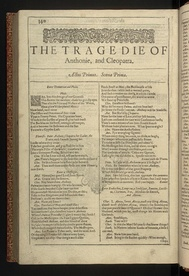 The first page of Antony and Cleopatra from the First Folio of Shakespeare's plays, published in 1623.