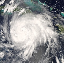 Hurricane Gustav, just after making landfall in Jamaica, August 29