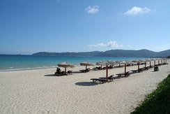 Yalong Bay, the most expensive and well-known beach in Hainan, and the location of numerous 5-star hotels.