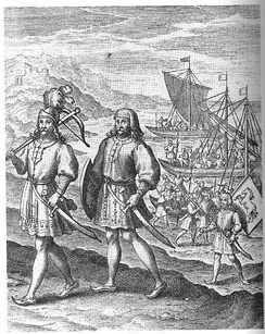 """The Arrival of the First Ancestors of Englishmen out of Germany into Britain"": a fanciful image of the Anglo-Saxon migration, an event central to the English national myth. From A Restitution of Decayed Intelligence by Richard Verstegan (1605)"