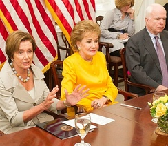 "Dole with Nancy Pelosi and John McCain at a 2014 meeting of the congressional ""Hidden Heroes Caucus"""