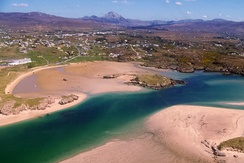 Aerial view of Gweedore, County Donegal, Enya's hometown