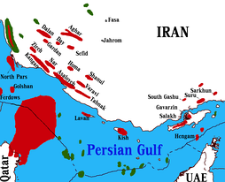 location of Gas Fields of Iran