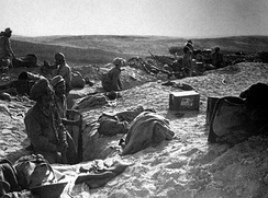 Israeli troops occupying abandoned Egyptian trenches at Huleiqat, October 1948.