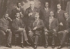 The Cape opposition delegation which lobbied the London Convention on Union for the multi-racial franchise. Present are prominent Cape politicians such as John Tengo Jabavu, William Schreiner, Walter Rubusana and Abdurahman.