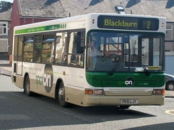Spot on liveried Plaxton Pointer Dennis Dart in Darwen in March 2008