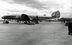 Lockheed Super Constellation of Air France at London (Heathrow) Airport in April 1955