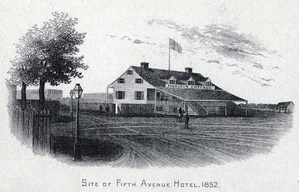 """Madison Cottage"", also known as ""Corporal Thompson's Roadhouse""[1] at Fifth Avenue and 23rd Street, in 1852"