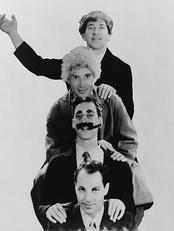 The Marx Brothers, from top: Chico, Harpo, Groucho, and Zeppo Marx