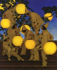 The Lantern Bearers (1908), created for Collier's magazine, shows Parrish's use of glazes and saturated color in an evocative night scene. Crystal Bridges Museum of American Art