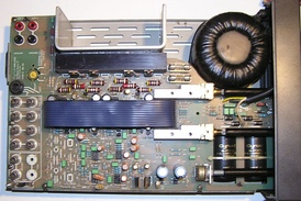 The internal view of a Mission Cyrus 1 Hi Fi integrated audio amplifier (1984)[1]