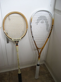 Old and new style squash rackets