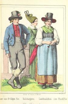 Young woman in dirndl from Salzburg region (right) and farmer´s wife wearing goldhaube (centre), 1847