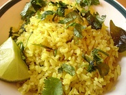 Poha, a snack made of flattened rice