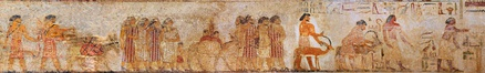 "A group of West Asiatic peoples (labeled as Aamu, possibly Canaanites and precursors of the future Hyksos) depicted entering Egypt circa 1900 BC. From the tomb of a 12th dynasty official Khnumhotep II under pharaoh Senusret II at Beni Hasan.[38][39][40][41] Howard Vos has suggested that the ""coat of many colors"" said to have been worn by Joseph could be similar to the colorful foreign garments seen in the painting.[42]"