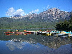 Kayaking provided by a lakeside resort in Jasper, Alberta