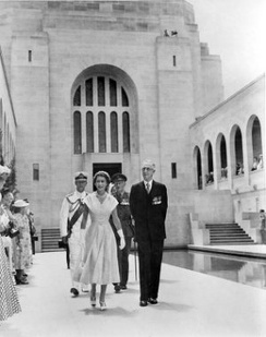 The Queen tours the Australian War Memorial, February 1954.