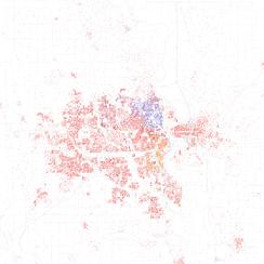 Map of racial distribution in Omaha, 2010 U.S. Census. Each dot is 25 people: White, Black, Asian, Hispanic or Other (yellow)