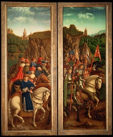 Knighted cavalry and noblemen, painting by Jan van Eyck (c. 1390–1441).