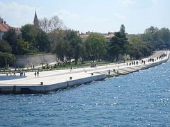 Bašić's sea organ, which creates sound from sea waves by using tubes built under the marble steps