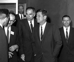 "From left to right: Chairman Seaborg, President Kennedy, Secretary McNamara on 23 March 1962. By this point, McNamara and Seaborg had been discussing the AEC's studies on the ecological effects of nuclear war and ""clean"" weapon alternatives. (Courtesy: National Security Archive, Original: National Archives)"