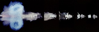 Series of individual 1/1,000,000 second exposures showing shotgun firing shot and wadding separation