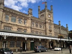 Shrewsbury railway station is built in a mock Tudor architectural style. The station is known as the 'Gateway to Wales'.[163]