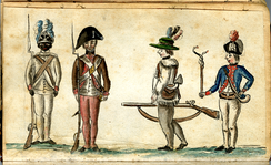 1780 drawing of American soldiers from the Yorktown campaign shows a black infantryman from the 1st Rhode Island Regiment.