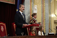 King Felipe VI addressing Parliament in the opening session of the 14th Cortes Generales.