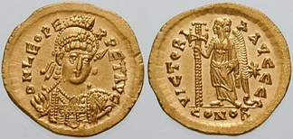 Gold solidus of Leo I, struck 462–473 AD at Constantinople.