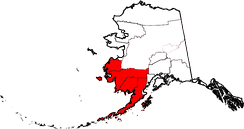 Map highlighting some Census and Governmental units of Southwest Alaska
