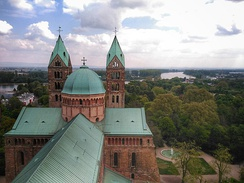 View of the river Rhine from the top of the Speyer Cathedral