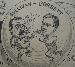 "Two Irish stars: ""Gentleman Jim"" Corbett licks John L. Sullivan in 1892"