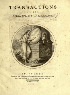 The cover of a 1788 volume of the journal Transactions of the Royal Society of Edinburgh. This is the issue where James Hutton published his Theory of the Earth.