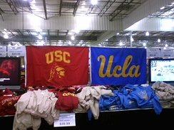 UCLA and USC gear on sale at side by side at Costco
