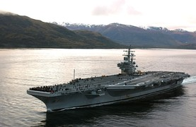 U.S. Navy carrier Ronald Reagan in the straits.