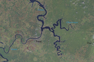 Crossing of the rivers Chusovaya (tributary) and Kama (main river) near the city of Perm. Ural mountains on the right.