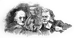 "Huxley (right) and Richard Owen inspect a ""water baby"" in Edward Linley Sambourne's 1881 illustration"