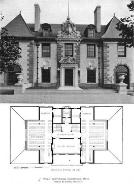 "Front view with second floor (showing locker rooms and adjacent ""rubbing"" rooms)"