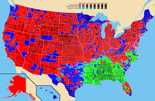 Election results by county.  Richard Nixon   Hubert Humphrey   George Wallace
