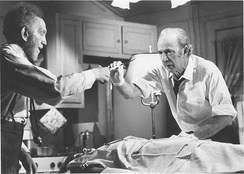 Film still of the special TV presentation The Sad and Lonely Sundays (1976). Pictured are Jaffe (left) and Jack Albertson.