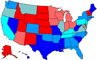 Republicans controlled the congressional delegations of the red states, Democrats controlled those of the states in blue