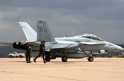 A Marine F/A-18D of VMFAT-101 prepares for takeoff
