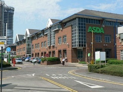 Asda's Headquarters, Asda House in Leeds; Asda was the UK's second largest supermarket until 2014, and is now third; Asda turned over £23.3bn in 2015, and is the region's largest company