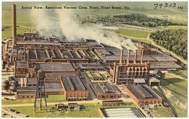 Mid-20th century postcard showing an aerial view of the American Viscose Corporation Plant in Front Royal, Virginia.