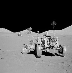 Apollo 17 lunar rover at its final resting place on the Moon. The surface electrical properties (SEP) receiver is the antenna on the right-rear of the vehicle