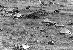 155 howitzer fire support base for Operation Hawthorne, 5th Bn., 27th Arty., 1st Bde., 101st Airborne Div., Vietnam, June 1966