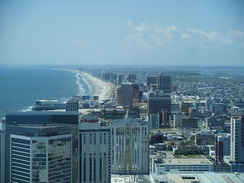 Atlantic City, looking southward, is an oceanfront resort and the nexus of New Jersey's gambling industry.