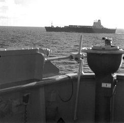 Atlantic Conveyor approaching the Falklands. On or about 19 May 1982.